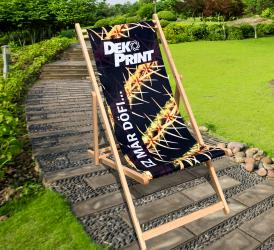 Timber chair with logo for your garden